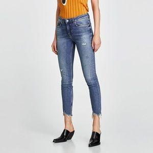 Zara Destructed Frayed Patched Skinny Jeans